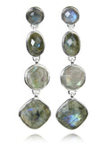 Four Geometric Drop Earring Labradorite
