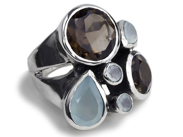 Slim Jaipuri Flower Cocktail Ring Aqua Chalcedony and Smokey Quartz