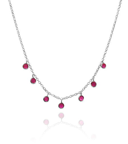 Floating Oval Pietra Necklace - Amethyst