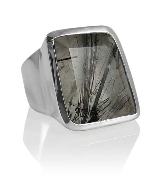 Iceland Limited Edition Stone Ring Black Rutile Quartz Size 6