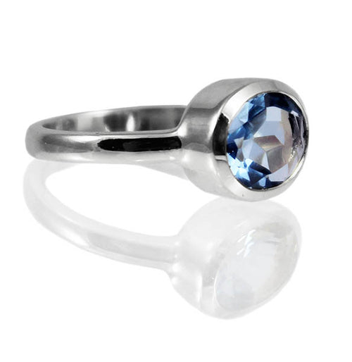 Oval Stackable Jaipuri Circle Ring Blue Topaz