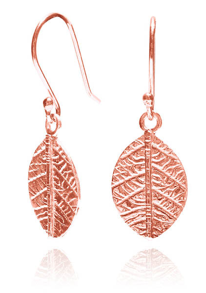 Rose Gold Plated Leaf Dangle Earrings