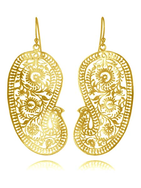 18K Gold Plated Matte Paisley Earrings (Large)