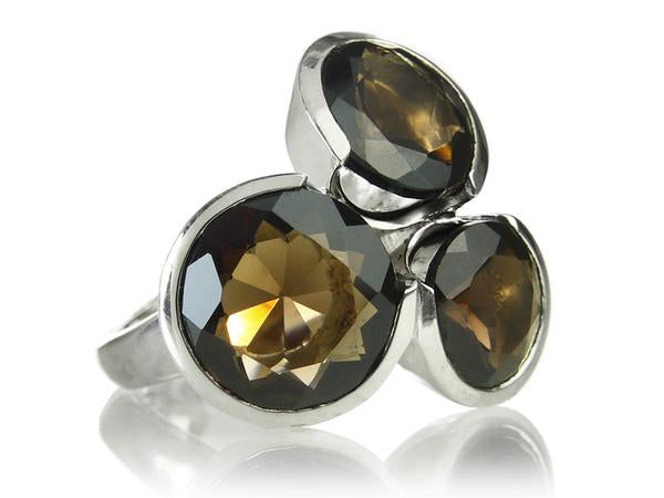 Three Circle Cluster Cocktail Ring Smokey Quartz