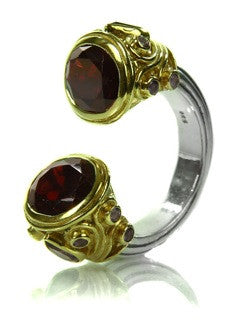 Large Serpentine Open Stone Ring Garnet 5