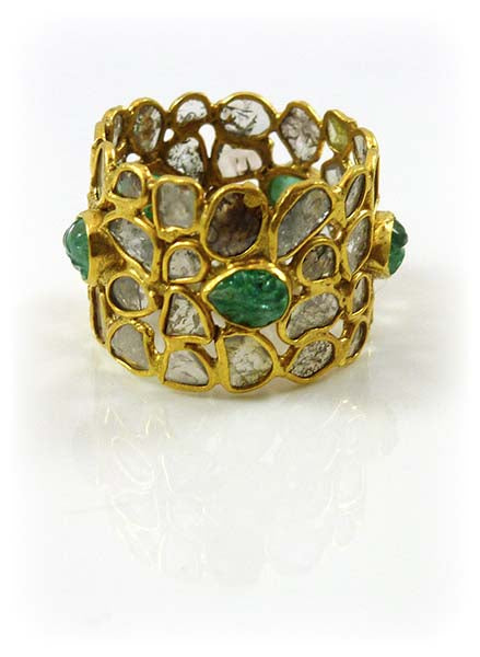 Carved Leaf River Ring Tourmaline Rough Diamond