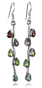 Vertical Stone Leaf Drop Earrings Multi Stone