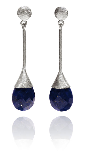 Indian Peacock Earrings Lapis Lazuli