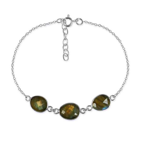 Three Stone River Rock Bracelet Labradorite