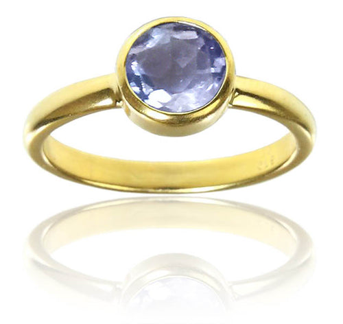 18K Gold Plated Stackable Jaipuri Circle Ring Amethyst