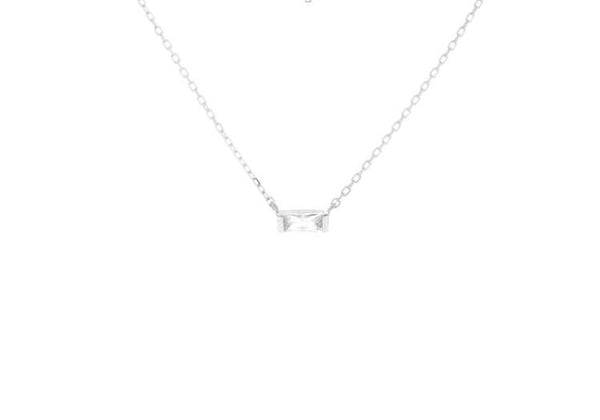 Mini Baguette Necklace - Silver