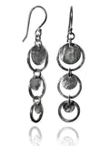 Brushed Three Circle Drop Earrings