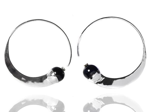 Swirly Earrings with Stone Black Onyx