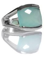 Capri Large Stackable Square Ring Aqua Chalcedony
