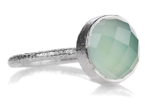 Capri Medium Stackable Circle Ring Aqua Chalcedony