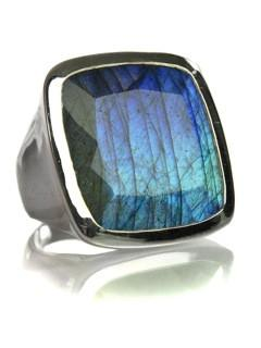 Large Capri Flat Square Cocktail Ring Labradorite