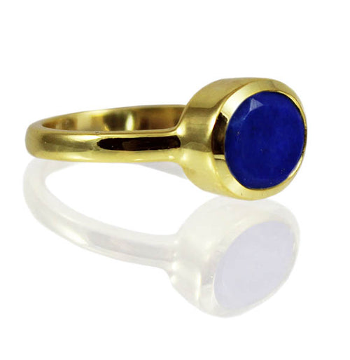 Gold Plated Oval Stackable Jaipuri Circle Ring Lapis Lazuli