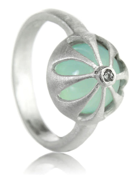 Arabesque Flower Cut Out Ring Aqua Chalcedony