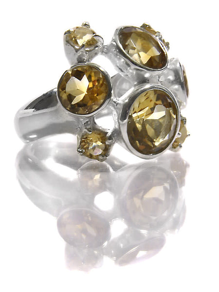 Eight Stone Free Style Bubble Ring Citrine