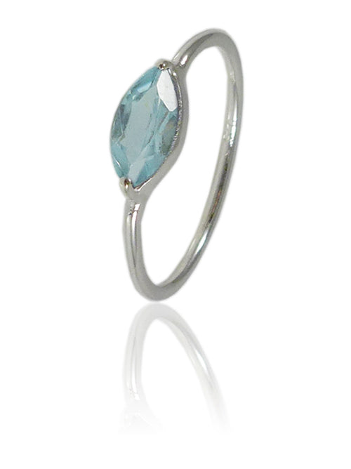 Amazon Stacking Leaf Ring Blue Topaz