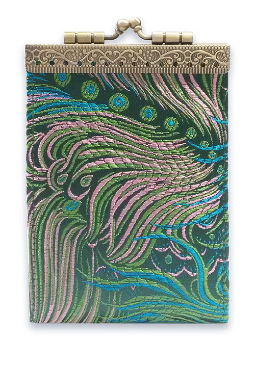 Card Holder Green and Pink Peacock
