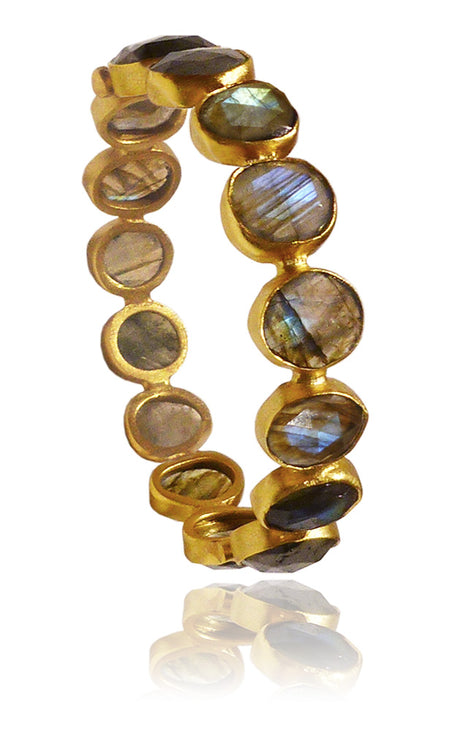 18k Gold Plated Four Stacked Jaipuri Stone Bangles Amethyst