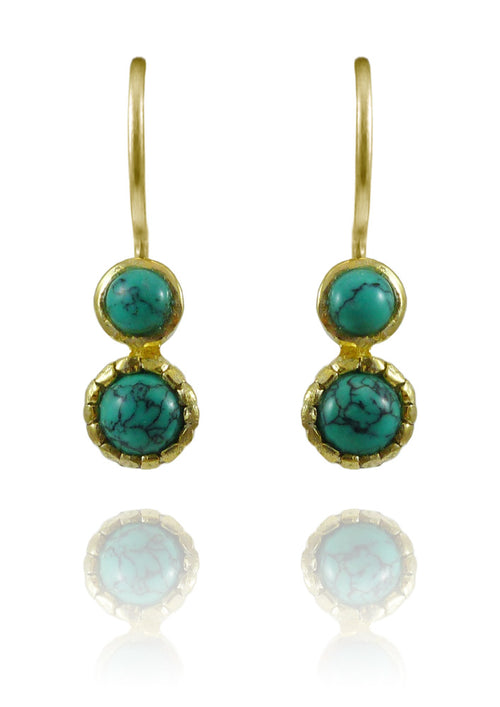 Gold Plated Art Deco Pop Earrings Turquoise