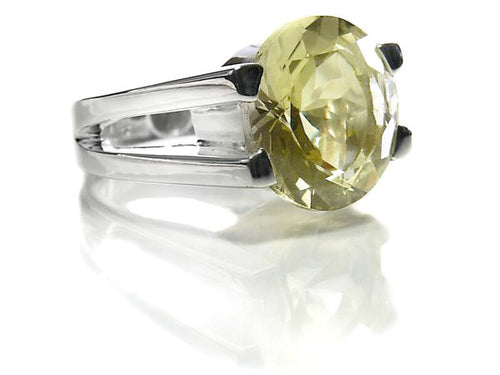 Da Vinci Four Prong Capri Cocktail Ring Lemon Topaz