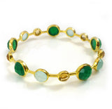 Gold Plated Art Deco Pop Bangle Aqua Chalcedony, Citrine, Green Onyx