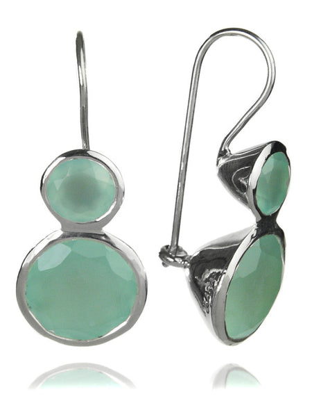 Large Jaipuri Two Stone Drop Earrings Aqua Chalcedony