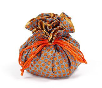 Jewelry Pouch Orange and Blue Checkers