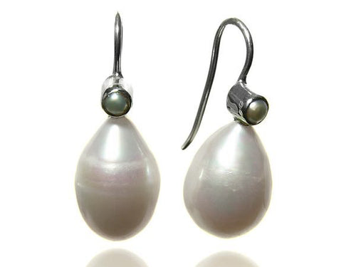 Double Pearl Drop Hanging Earrings White Pearl