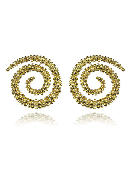 18K Gold Plated Jilapi Swirl Stud Earrings