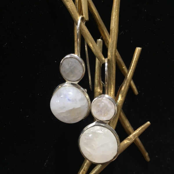Large Jaipuri Two Stone Drop Earrings White Moonstone
