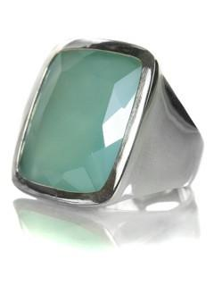 Da Vinci Four Prong Capri Cocktail Ring Green Amethyst