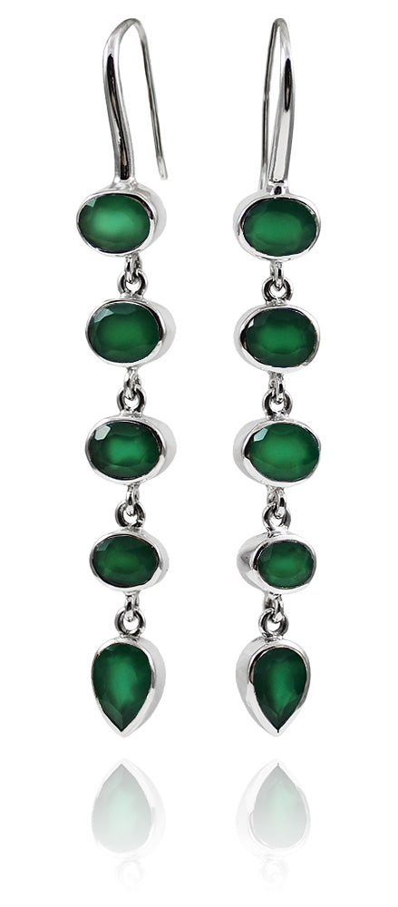 Geometric 5 Stone Drops Green Onyx
