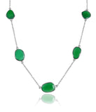 River Rock Seven Stone Necklace Green Onyx