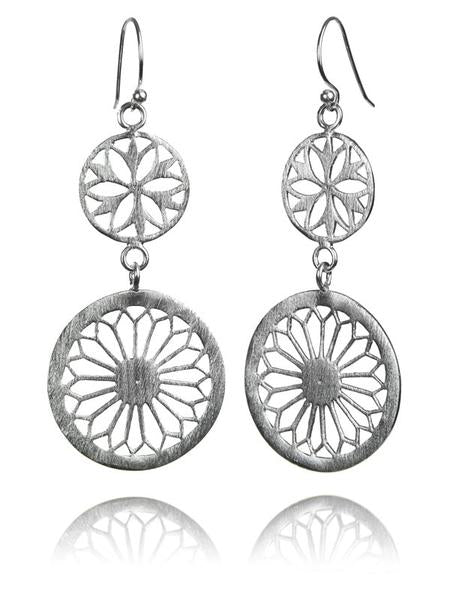 Brushed Large Two Drop Arabesque Cut Out Earrings