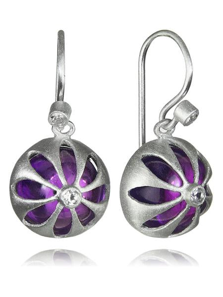 Arabesque Flower Cut Out Earrings Amethyst