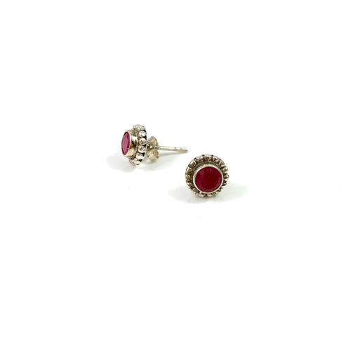 Bali Stone Studs Rough Cut Ruby