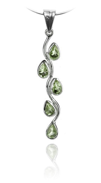 Vertical Five Stone Leaf Drop Pendant Green Amethyst