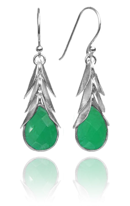 Brazilian Leaf Stone Drops Green Onyx