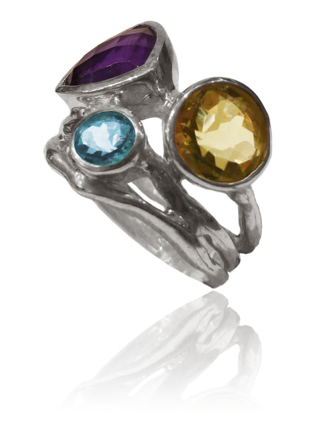 Twisted Twig Cocktail Ring Amethyst and Blue Topaz