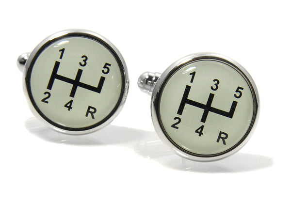 Stick Shift Cufflinks - Rhodium