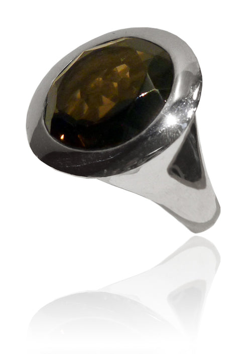 Small Italian Full Faceted Circle Ring with Simple Band Smokey Quartz