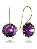 18K Gold Plated Milano Threaded Circle Drops Amethyst
