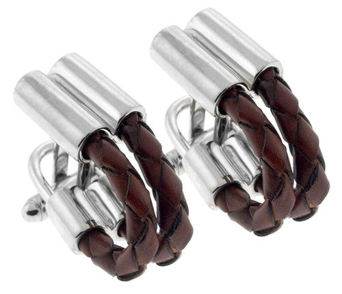 Brown Leather Twist Cufflinks
