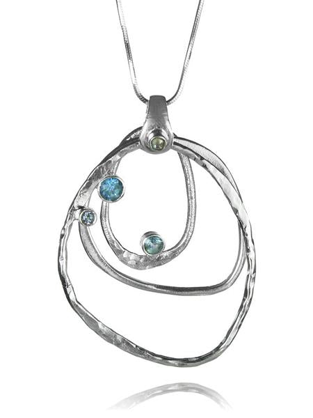 Amazon Concentric Circle Stone Pendant Blue Topaz