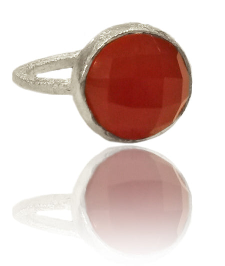 Capri Medium Stackable Circle Ring Rough Cut Ruby