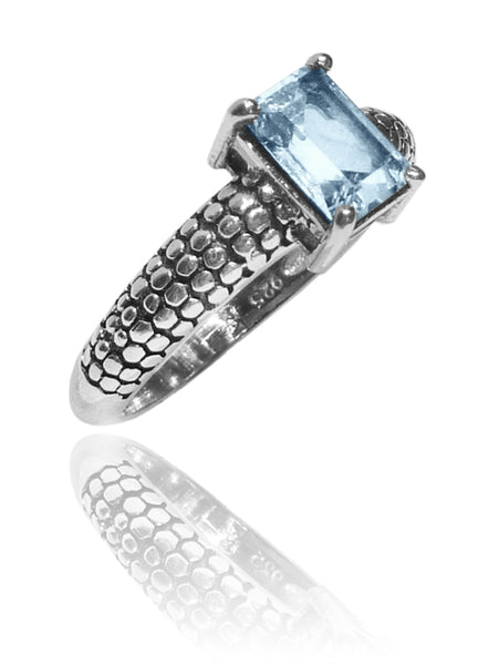 Sumatra Band with Emerald Cut Stone Ring - Blue Topaz size 8